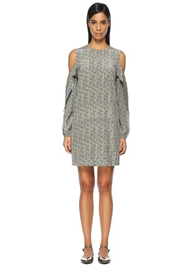 Çiçekli Omuzları Açık Elbise-Robert Rodriguez